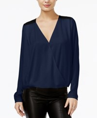 Guess Contrast Surplice Top Medieval Blue