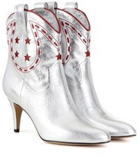 Marc Jacobs Metallic Leather Cowboy Boots Silver