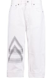 Marc By Marc Jacobs Big Jean High Rise Embroidered Straight Leg Jeans White