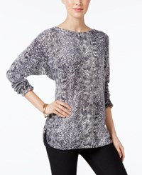 Charter Club Cashmere Snakeskin Print Sweater Only At Macy's Classic Black