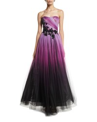 Pamella Roland Floral Beaded Strapless Ombre Tulle Gown Purple Black