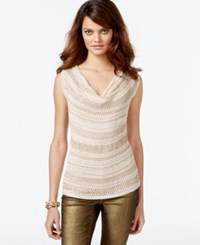 Inc International Concepts Embellished Loose Knit Cowl Neck Sleeveless Sweater Only At Macy's Gold