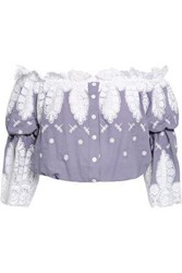 Miguelina Woman Cropped Off The Shoulder Guipure Lace And Embroidered Cotton Top Lavender