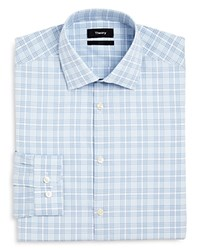 Theory Large Scale Check Slim Fit Dress Shirt Light Blue
