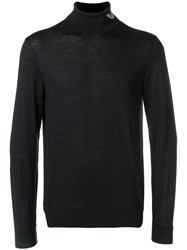 Emporio Armani Turtle Neck Fitted Sweater Blue