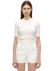 Courreges Short Sleeve Cotton Knit Top Ivory