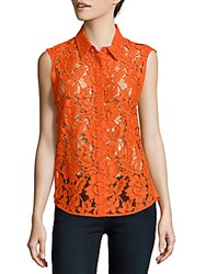 Sandro Cassie Sleeveless Lace Top Gold Yellow
