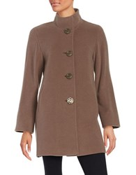 Cinzia Rocca Icons Wool Blend Mockneck Car Coat Taupe
