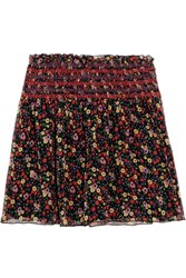 Anna Sui Smocked Printed Silk Crepon Mini Skirt Black