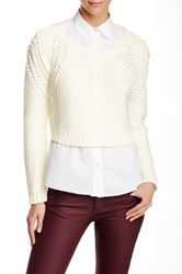 Twelfth St. By Cynthia Vincent Cropped Pullover Sweater White