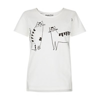 People Tree Happy Cats T Shirt White