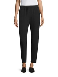 Eileen Fisher Silk Georgette Slouchy Ankle Pants Black