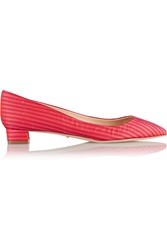 Jerome C. Rousseau Striped Satin Ballet Flats Pink