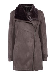 Weatherproof Faux Shearling Asymmetrical Walker Jacket Grey