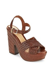 Schutz Bob Loo Woven Leather Platform Sandals Saddle