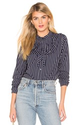 Bcbgeneration Ruffle Front Top Navy