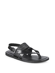 Saks Fifth Avenue Three Band Leather Sandals Black