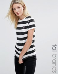 Daisy Street Tall Striped T Shirt With Unicorn Embroidery Black White
