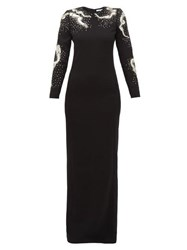 Givenchy Snake Crystal And Sequinned Wool Gown Black Silver