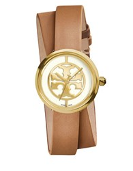 Tory Burch Reva Logo Dial Double Leather Strap Watch Brown