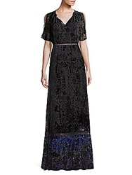 68d10dedcba Elie Tahari Charlize Velvet Burnout Maxi Dress Black Multicolor