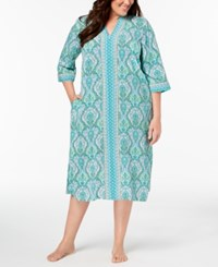 Charter Club Plus Size Woven Printed Caftan Created For Macy's Tropical Floral