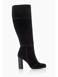 Wallis Black Suede High Leg Boots