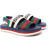 Gucci Webbing Trimmed Rubber Sandals Multi