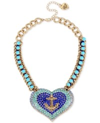 Betsey Johnson Gold Tone Blue Crystal And Stone Anchor Heart Necklace