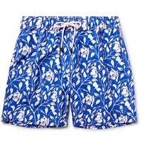 Pink House Mustique Mid Length Floral Print Swim Shorts Blue