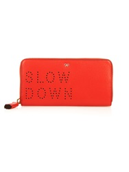 Anya Hindmarch Slow Down Perforated Zip Around Leather Wallet