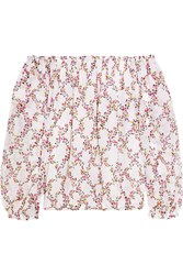Diane Von Furstenberg Kamber Off The Shoulder Floral Print Silk Chiffon Top White Pink
