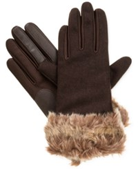 Isotoner Signature Smartouch Faux Fur Cuff Tech Gloves Brown