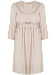 Barba Midi V Neck Dress Nude And Neutrals