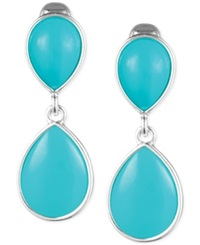 Jones New York Teardrop Stone Double Drop Clip On Earrings Silver Turquoise