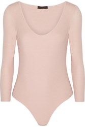 Atm Anthony Thomas Melillo Ribbed Stretch Micro Modal Bodysuit Pastel Pink