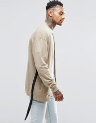 Asos Oversized Longline Jersey Bomber Jacket With Taping Beige