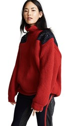 Kolor Two Tone Turtleneck Top Red