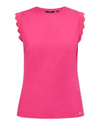 Ted Baker Elliah Scallop Detail Fitted T Shirt Fuchsia