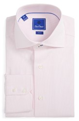 David Donahue Men's Big And Tall Trim Fit Check Dress Shirt White Pink