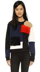 Msgm Colorblock Sweatshirt With Faux Fur Panels Multi