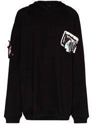 Raf Simons Patch Detail Oversized Cotton Hoodie Black