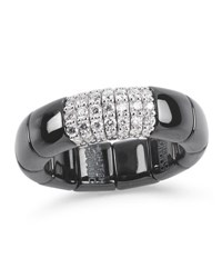 Roberto Demeglio Black Ceramic And 18K White Gold Ring With Diamonds 0.38Tdcw