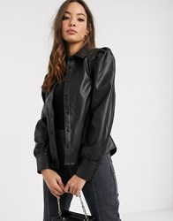 Vero Moda Leather Look Shirt With Puff Sleeve In Black