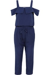 Clu Cutout Silk And Cotton Blend Jumpsuit Indigo