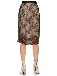Maison Martin Margiela Layered Floral Lace And Pvc Skirt