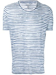 Majestic Filatures Striped Crewneck T Shirt Men Linen Flax S White