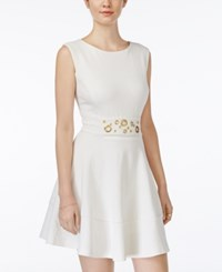Xoxo Juniors' Grommet Detail Fit And Flare Dress Ivory
