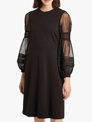 French Connection Paulette Jersey Puff Sleeve Dress Black