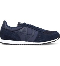 Armani Jeans Logo Embossed Suede Running Trainers Navy